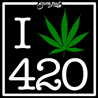 "Seven Leaf - I Heart 420 4""x4"" Sticker"