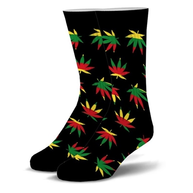 Rasta Ganja Leaf Crew Socks - Mens